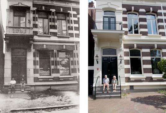 Ido en Ina Nathans voor hun  ouderlijk huis in 1945 en 2019