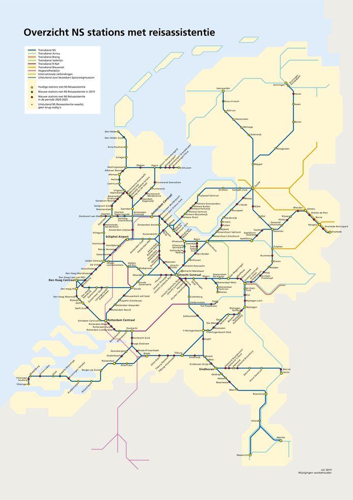 Stations waar de reisassistentie al aanwezig is en waar dat nog gebeurt.