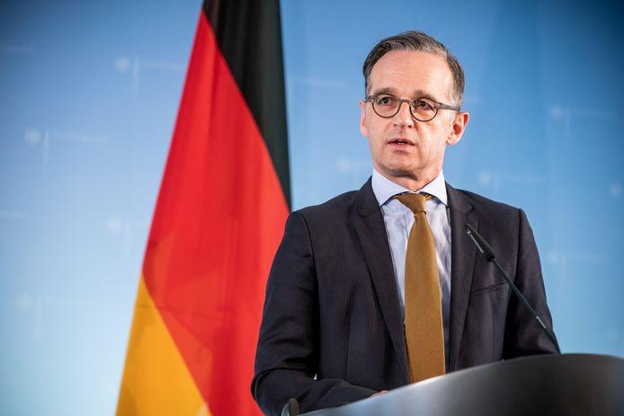 De Duitse minister van Buitenlandse Zaken Heiko Maas op een persconferentie vrijdag in Berlijn.