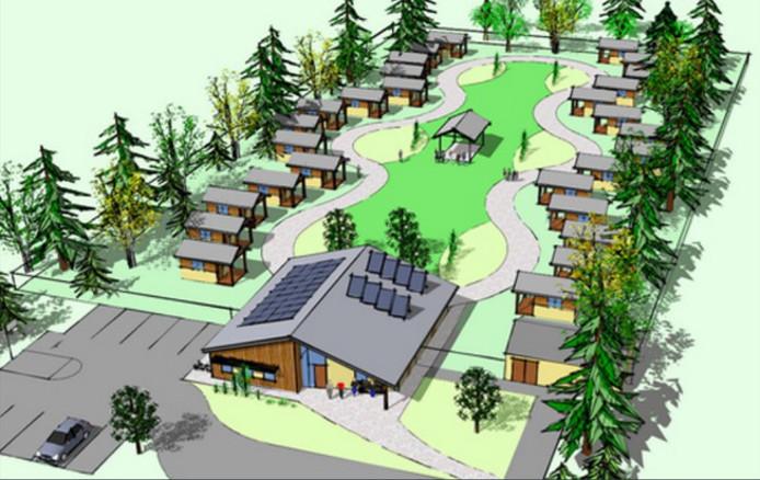 Een eerste schets van de tiny houses die aan de Akkerweg in Driebergen zouden moeten komen.