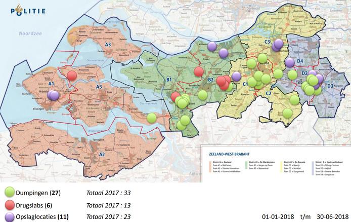 Overzicht van het aantal drugslabs, drugsdumpingen en opslaglocaties in Zeeland en West-Brabant in het eerste half jaar van 2018.