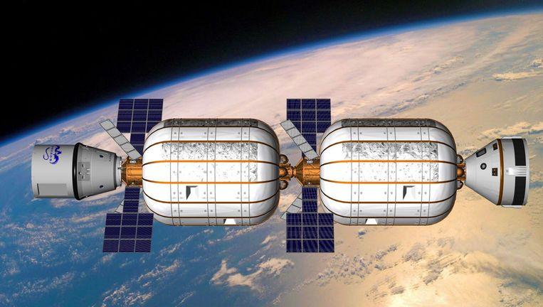 Impressie van het opblaasbare ruimtestation dat Bigelow Aerospace in 2020 wil lanceren. Beeld Bigelow Aerospace
