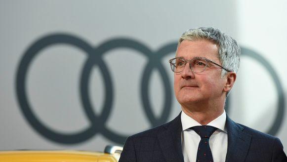 CEO Rupert Stadler bij aanvang van de voorstelling van de jaarresultaten.