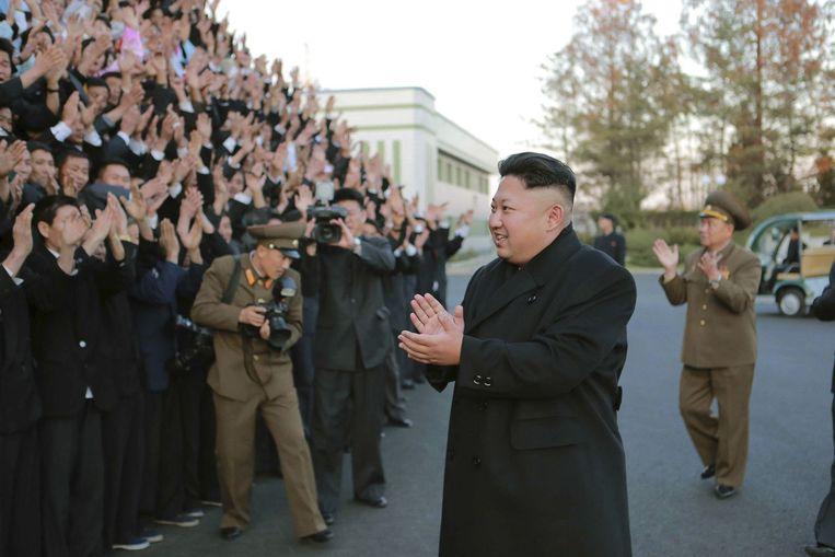 Kim Jong-un tijdens een bezoek aan het Noord-Koreaanse Volksleger in februari. Beeld reuters