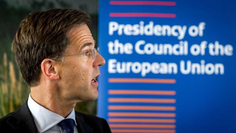 Premier Mark Rutte na een overleg met de voorzitters van de belangrijkste Europese instellingen over de uitslag van het Brexit-referendum. Beeld anp