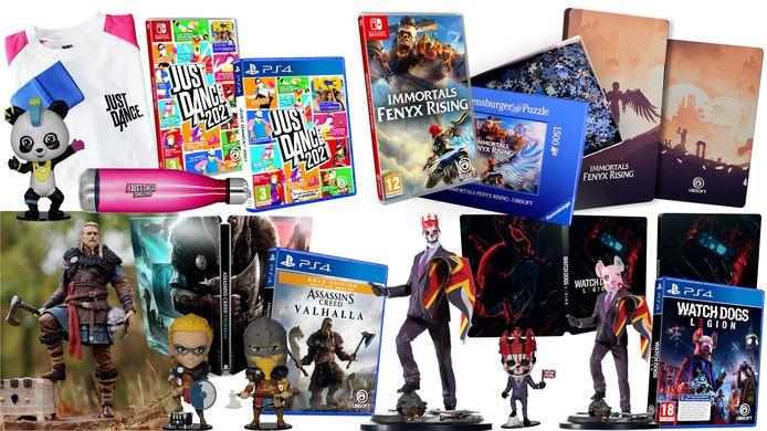 Win games en goodies van Assassin's Creed Valhalla, Watch Dogs Legion, Immortals Fenyx Rising en Just Dance 21.