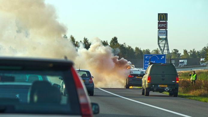 Autobrand A50 Uden ter hoogte van afslag Zeeland.
