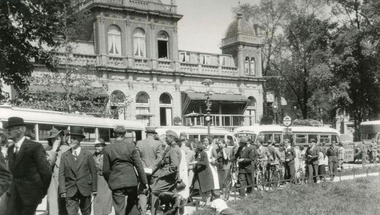 Mei 1940. Tijdens de mobilisatie, vanaf 11 april 1939, was in het paviljoen het hoofdkwartier van de Luchtverdedigings Kring Amsterdam gevestigd. Beeld NIOD