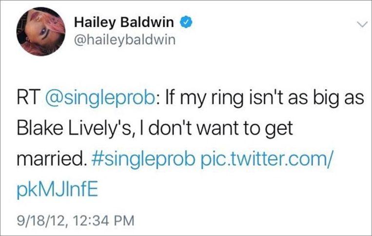 In 2012 retweette Hailey de tweet van een jonge vrouw waarin ze 'Als mijn ring niet zo groot is als die van Blake Lively, wil ik niet trouwen', schreef.