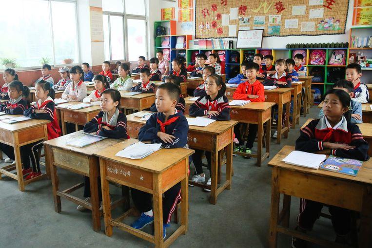 Leerlingen van de vierde klas. Beeld Elke Scholiers