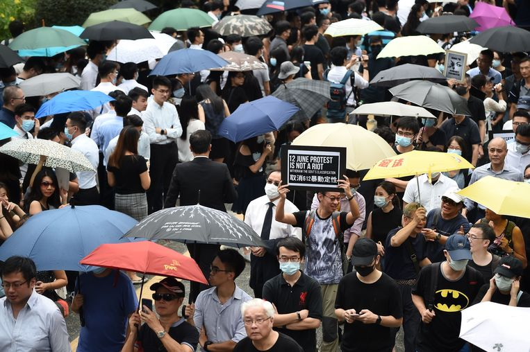 Demonstraties in Hongkong. Beeld null