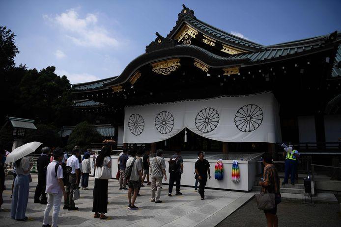 De herdenking bij de omstreden Yasukuni-tempel zaterdag in Tokio.