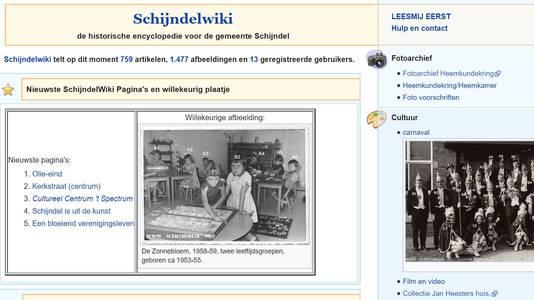Een screenshot van de website Schijndelwiki.nl