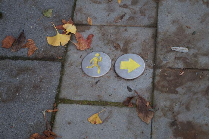 De omlopen volgen kan via deze noppen in de grond.