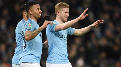 Nét geen dubbele cijfers: Manchester City laat geen spaander heel van derdeklasser, De Bruyne scoort de eerste van negen (!) goals
