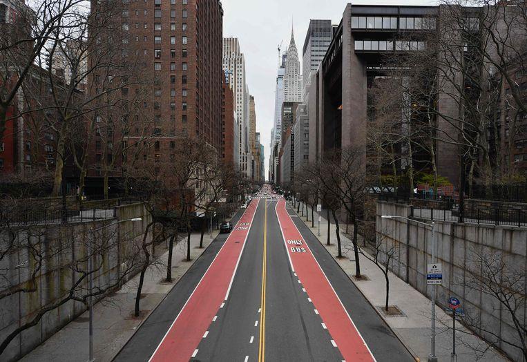 Lege straten in New York.  Beeld AFP