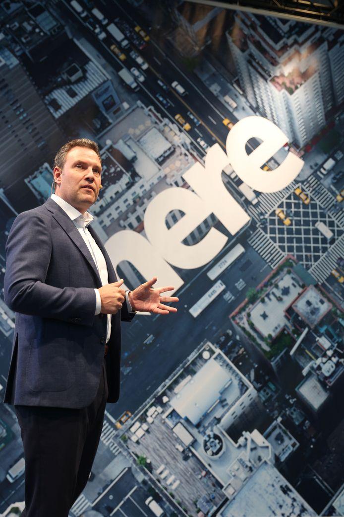 Topman Edzard Overbeek bij de opening van het hoofdkantoor van HERE in Eindhoven in 2017
