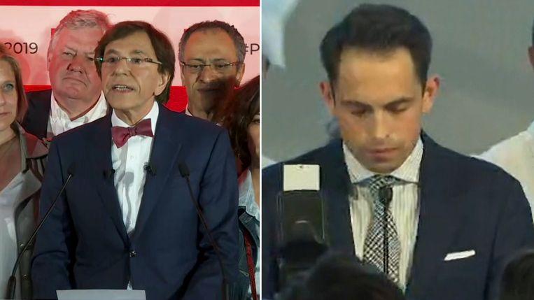 Elio Di Rupo van de Waalse partij PS (links) en Tom Van Grieken van het Vlaams Belang.