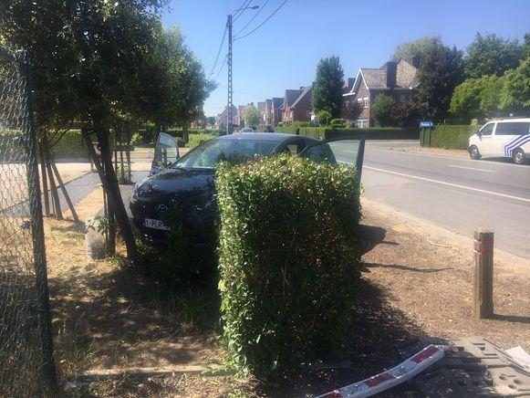 De auto belandde in een haag van een woning.