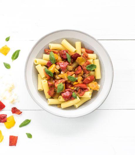 Wat Eten We Vandaag: Pasta peperonata met gegrilde paprika