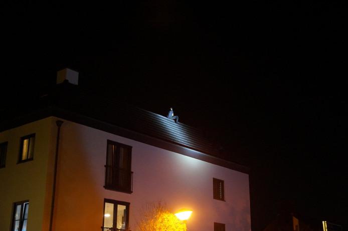 Man op dak appartementen in Vlijmen.