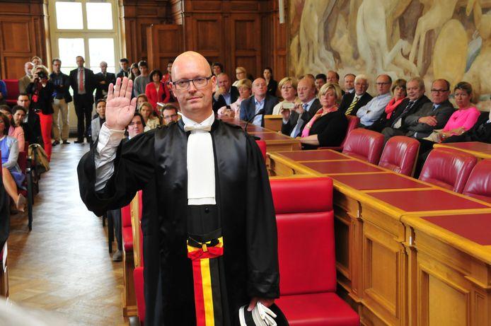 Johan Sabbe bij zijn eedaflegging als procureur des Konings in 2014.