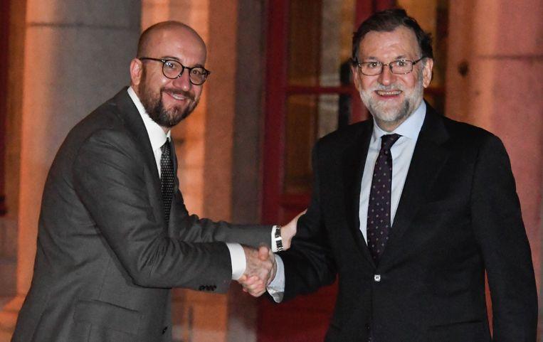 Premier Charles Michel ontvangt de Spaanse premier Mariano Rajoy op Hertoginnedal.