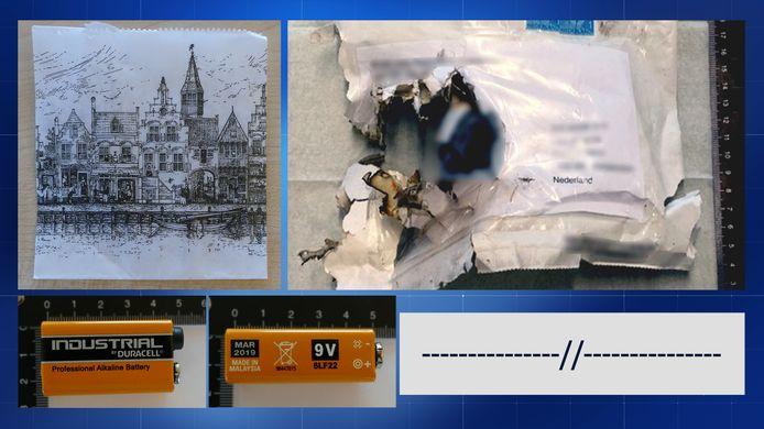 De afperser ondertekende de bombrieven met rechte en schuine streepjes (rechtsonder) en gebruikte een 9 Volt-batterij. Ook stopt de dader in elke envelop een papieren zakje met een aanzicht van Delft.