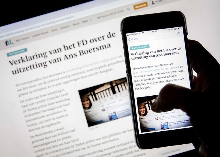 FD-hoofdredacteur Jan Bonjer bracht een verklaring uit over de uitzetting van journaliste Ans Boersma door Turkije.