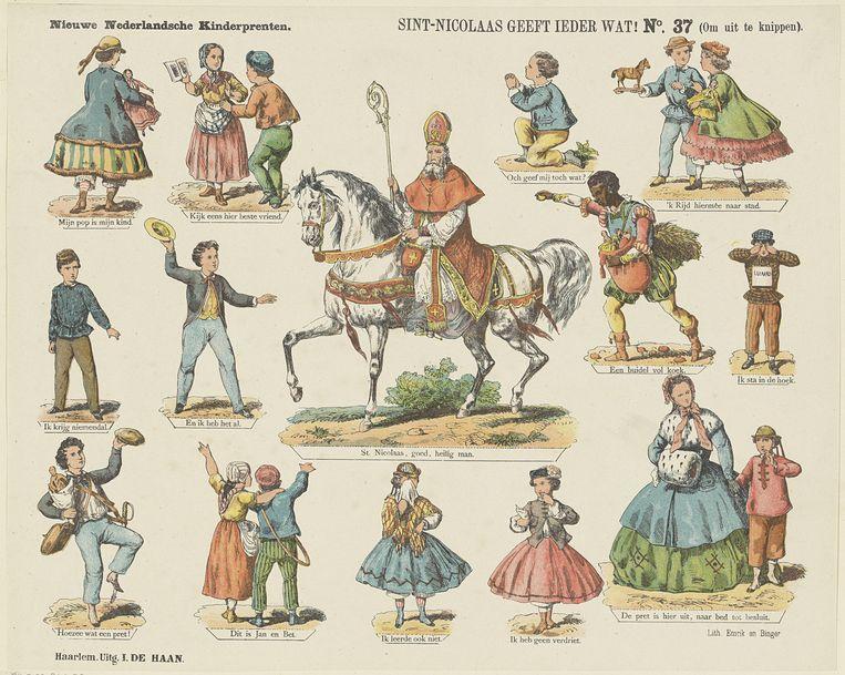 Sint-Nicolaas geeft ieder wat! (Om uit te knippen), Kleurenlitho, druk Emrik en Binger, uitgave I. de Haan, Haarlem, ca. 1875-1900 Beeld Rijksmuseum