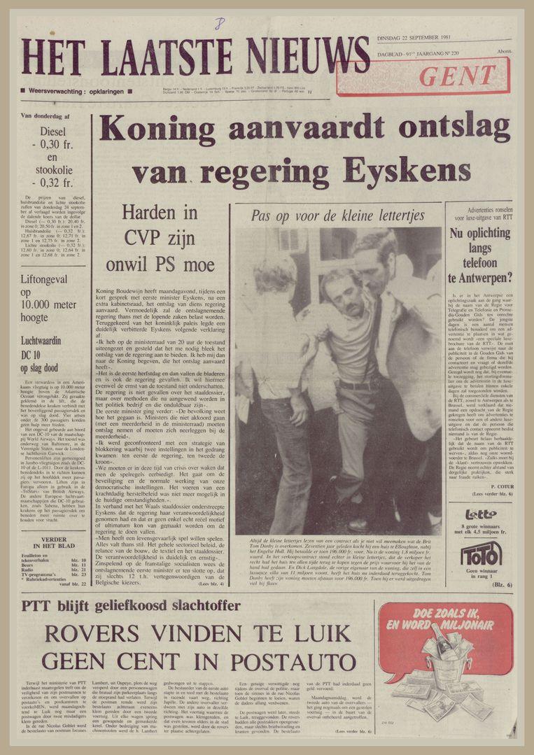 De voorpagina van Het Laatste Nieuws op 22 september 1981, de dag na het ontslag van de regering-Eyskens.