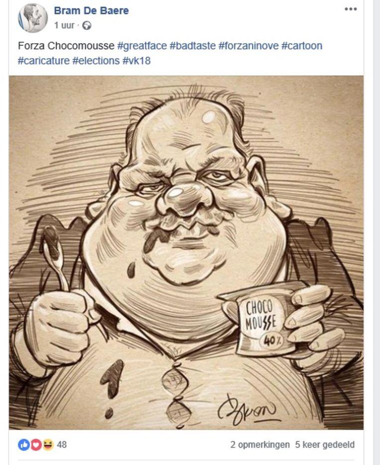 Bram De Baere zette zijn karikatuur van Guy D'haeseleer op Facebook.