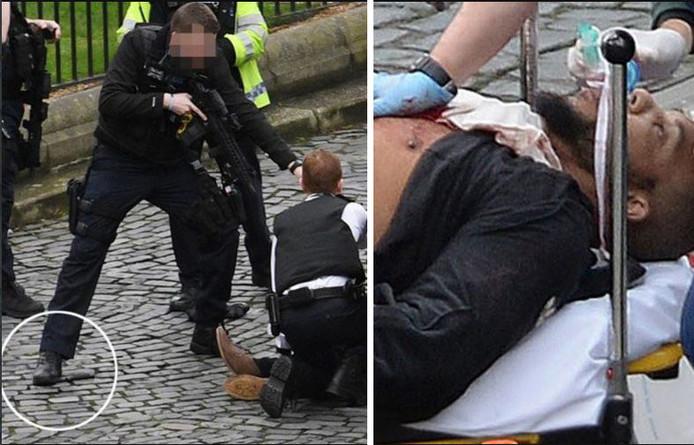 De vermoedelijke dader nadat hij werd neergeschoten door de politie.