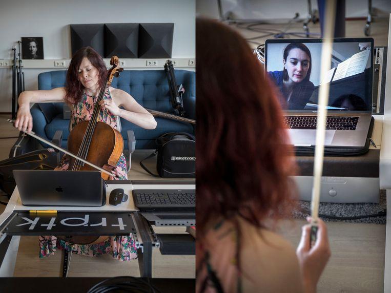 Celliste Maya Fridman repeteert via Zoom met componiste Heather Pinkham.  Beeld Werry Crone