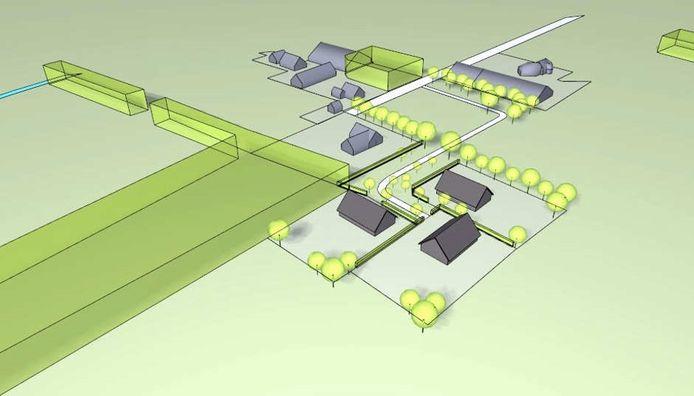 Schets van het rood voor roodplan aan de Huyerenseweg. Rechtsonder de drie schuurwoningen die in het buitengebied van Geesteren moeten verrijzen.
