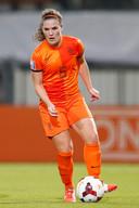 Siri Worm (op archiefbeeld) in het shirt van het Nederlands elftal.