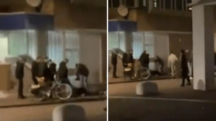 Een still uit de video van de mishandeling in Helmond die rondgaat op sociale media.