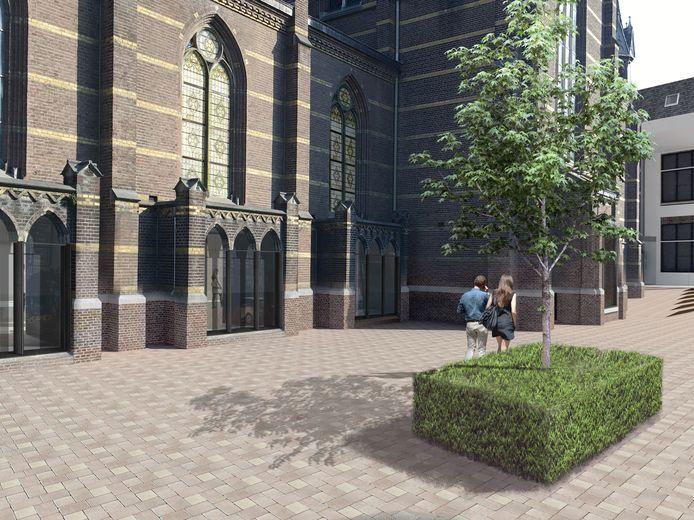 Zo moeten de biechtstoelen in de zijgevel van de Paterskerk aan de Kanaalstraat in Eindhoven er uit komen te zien.
