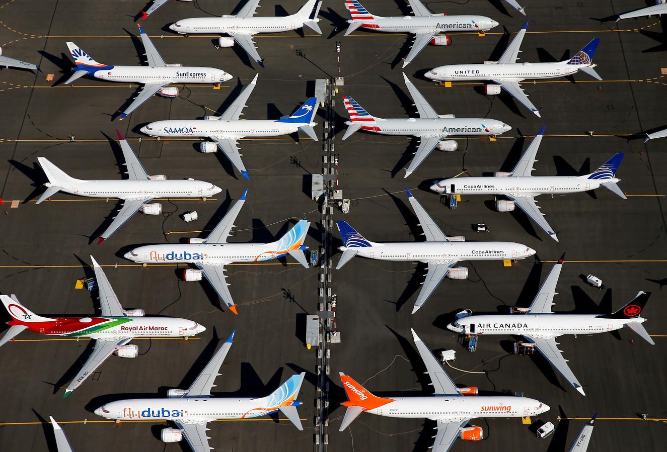 Toestellen van het type Boeing 737 MAX aan de grond op Boeing Field in Seattle.