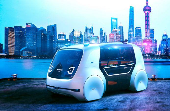 Een concept zelfrijdende auto van VW.
