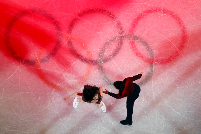 De Chinese kunstschaatsers Sui Wenjing and Han Cong.