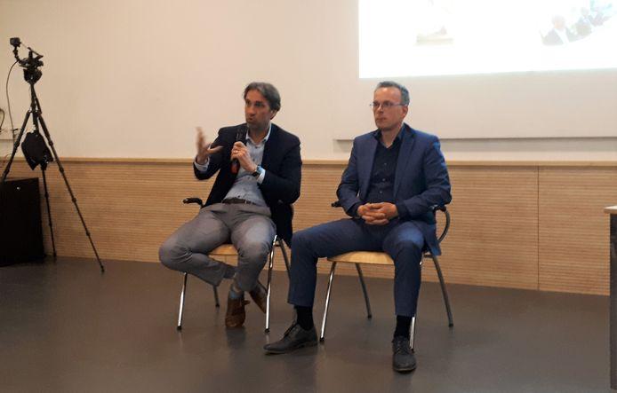 Frank Schoenmakers (l) en Hans Hartman van Van Wanrooij lichten de plannen met Coudewater toe.