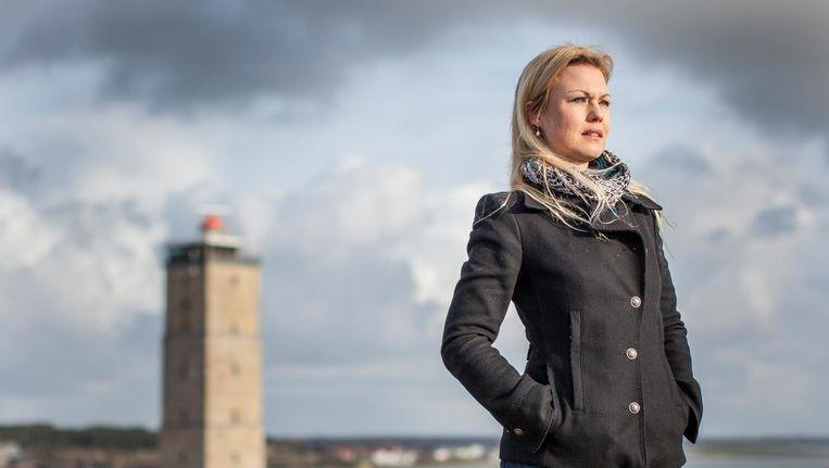 Nicolette van Berkel, verkeersleider op de vuurtoren de Brandaris. Beeld Harry Cock
