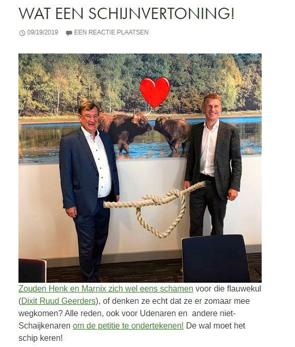 De burgemeesters Hellegers(l) en Bakermans(r) krijgen het nogal eens te verduren.