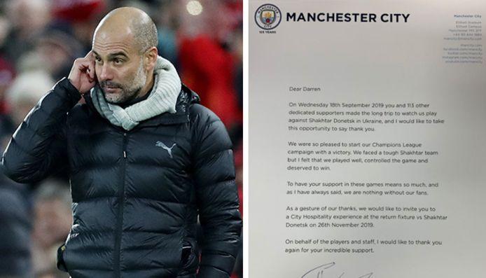 Pep Guardiola a envoyé une lettre aux 114 supporters