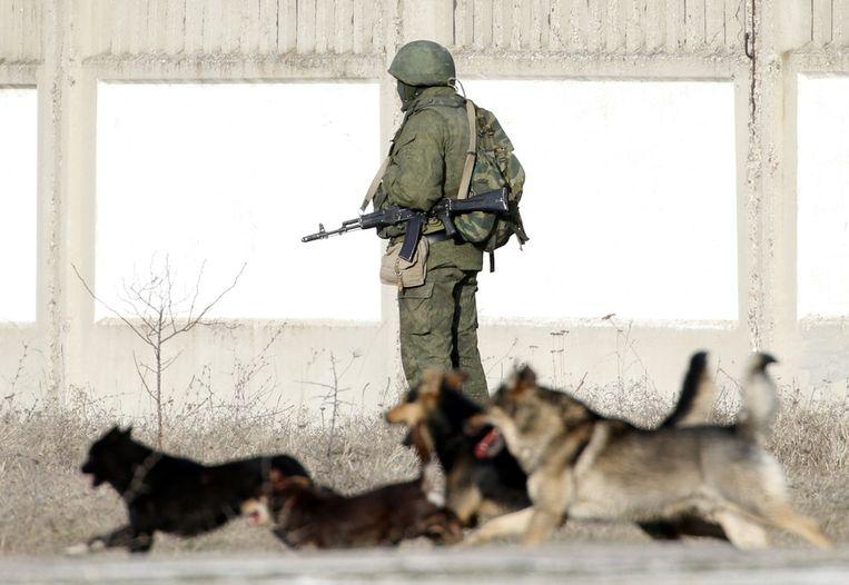 Een gewapende man bij de militaire basis bij Perevalnoye. Beeld reuters