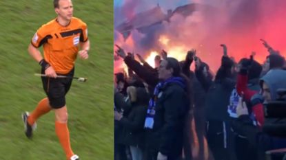 Harde kern protesteert én juicht bij aankomst bus Anderlecht, tijdens match vliegt vuurwerkstok op het veld