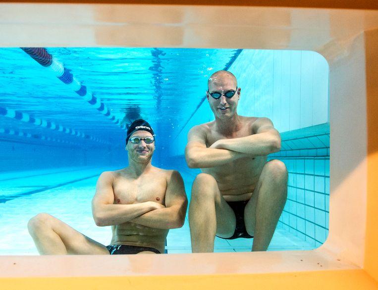 Olympisch kampioenen Maarten van der Weijden (2008) en Ferry Weertman (2016). Beeld Koen Verheijden