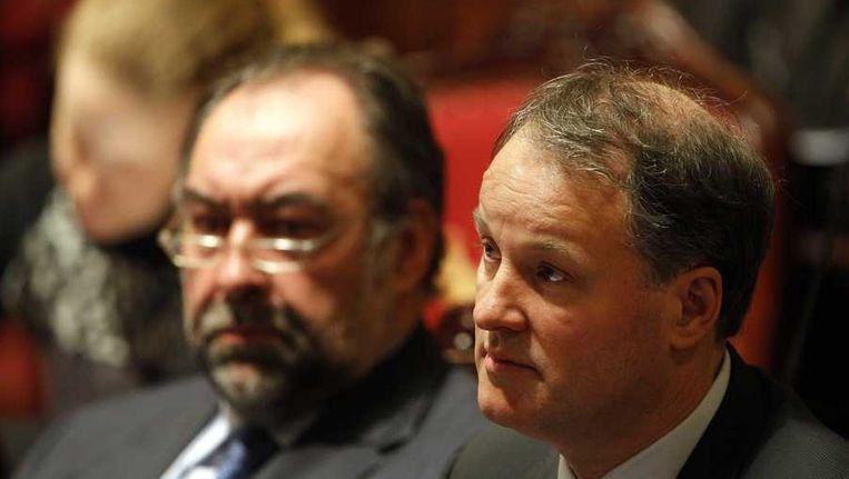 NS-directeur Bert Meerstadt (R) en zijn Belgische collega Marc Descheemaecker van NMBS tijdens de hoorzitting over de Fyra. Beeld anp