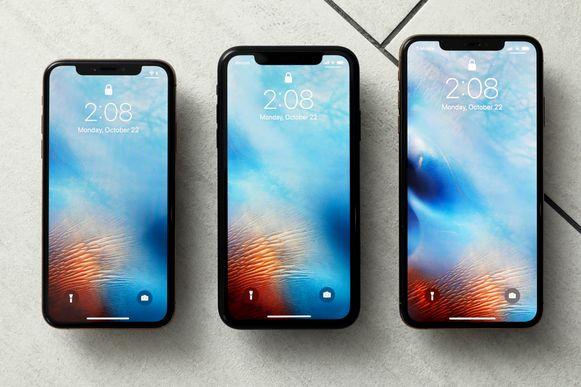 Vanaf links: de iPhone XS, iPhone XR en de iPhone XS Max.